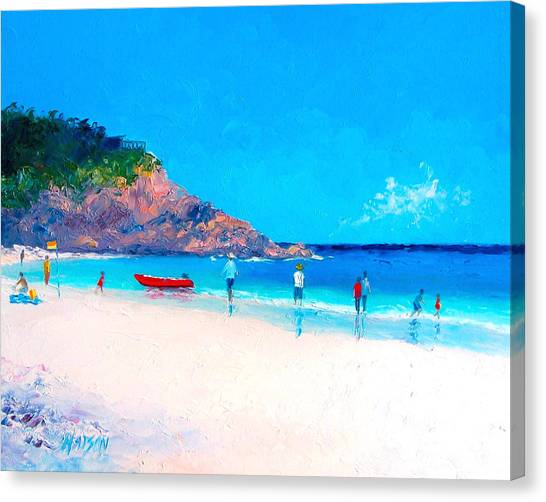People Walking On Beach Canvas Print - Beach Painting - The Rescue Boat by Jan Matson