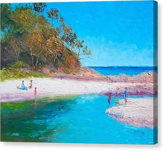 Children Playing On Beach Canvas Print - Beach Picnic by Jan Matson