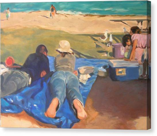 Beach Picnic Canvas Print by Merle Keller