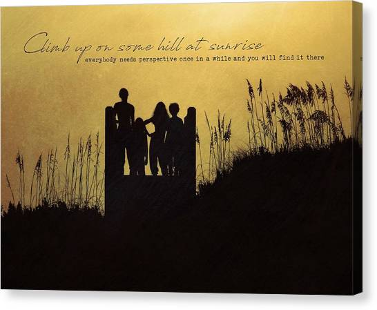 Beach Silhouette Quote Canvas Print by JAMART Photography
