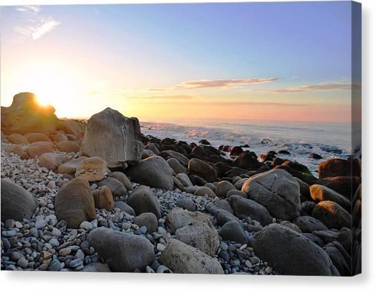 Beach Sunrise Over Rocks Canvas Print