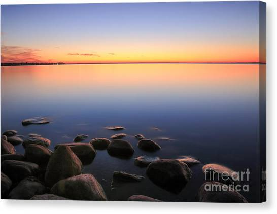 Sunset Horizon Canvas Print - Beach Sunset Afterglow by Charline Xia