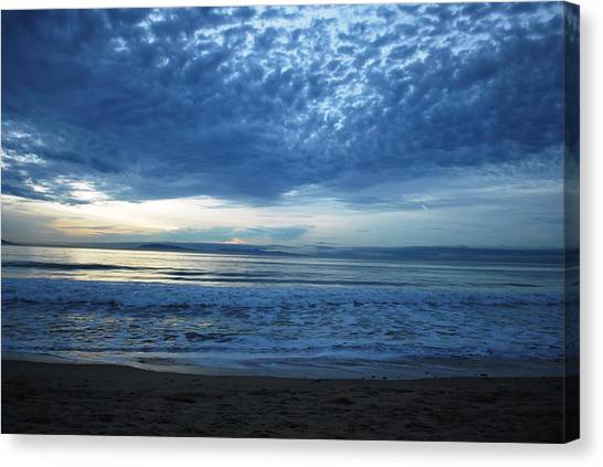 Beach Sunset - Blue Clouds Canvas Print