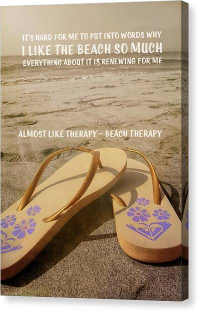 Beach Therapy Quote Canvas Print by JAMART Photography