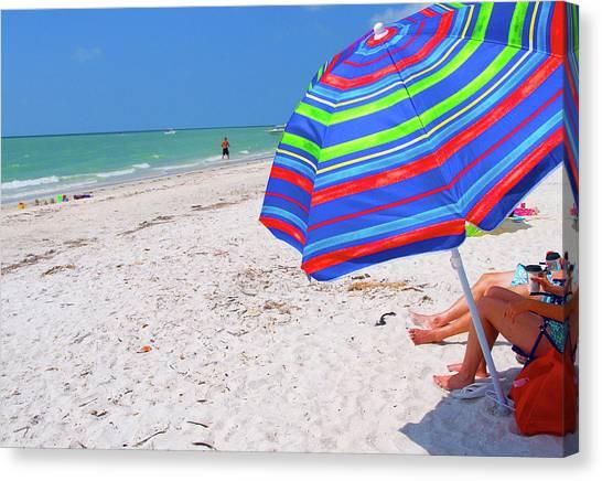 Beach Umbrella Canvas Print by Carol McCutcheon