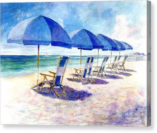 Beach Umbrellas Canvas Print - Beach Umbrellas by Andrew King