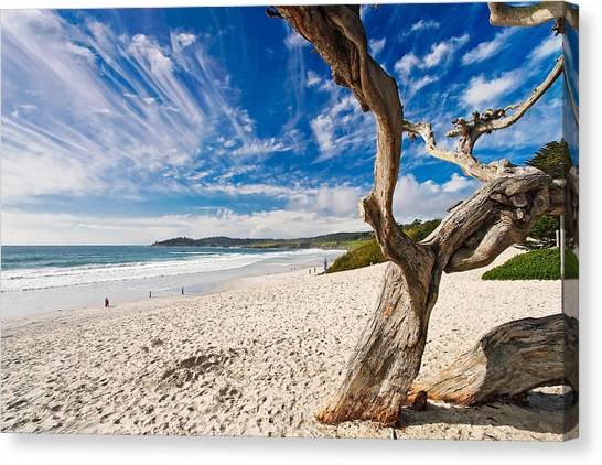 Big Sky Canvas Print - Beach View Carmel By The Sea California by George Oze