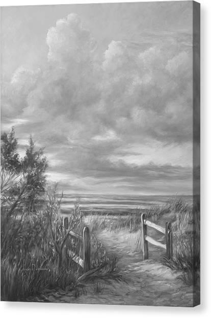 Beach Sunset Canvas Print - Beach Walk - Black And White by Lucie Bilodeau