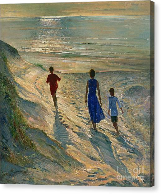 Low Tide Canvas Print - Beach Walk by Timothy Easton