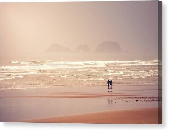 People Walking On Beach Canvas Print - Beach Walkers by Debi Bishop