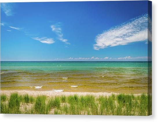 Beach With Blue Skies And Cloud Canvas Print