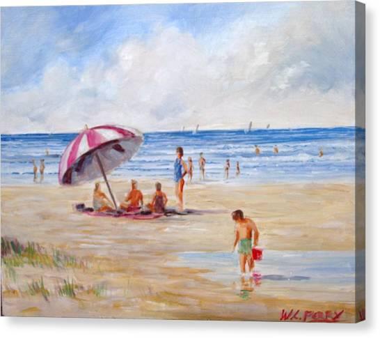 Beach With Umbrella Canvas Print