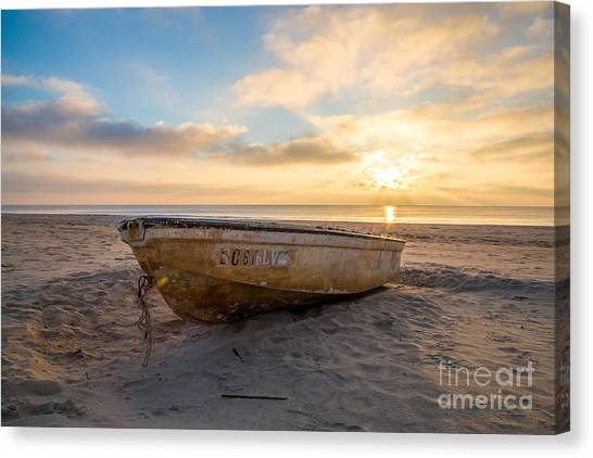 John Boats Canvas Print - Beached Boat At Sunrise by Andy Miller