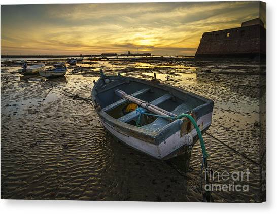 Beached Boat On La Caleta Cadiz Spain Canvas Print