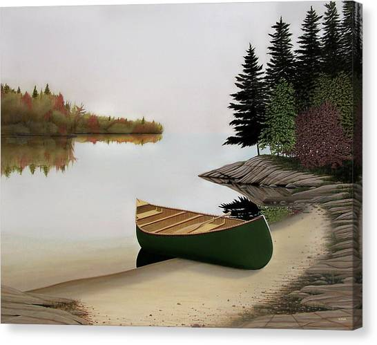 Beached Canoe In Muskoka Canvas Print