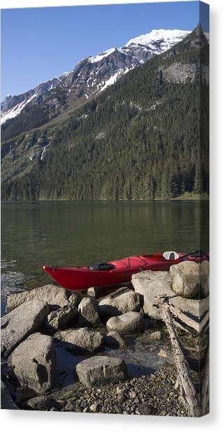Beached Kayak In Alaska Canvas Print