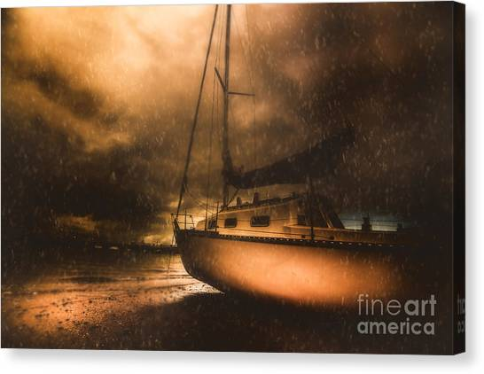 Canvas Print featuring the photograph Beached Sailing Boat by Jorgo Photography - Wall Art Gallery