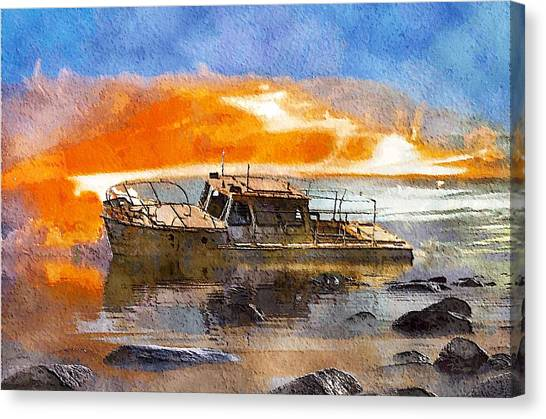 Beached Wreck Canvas Print