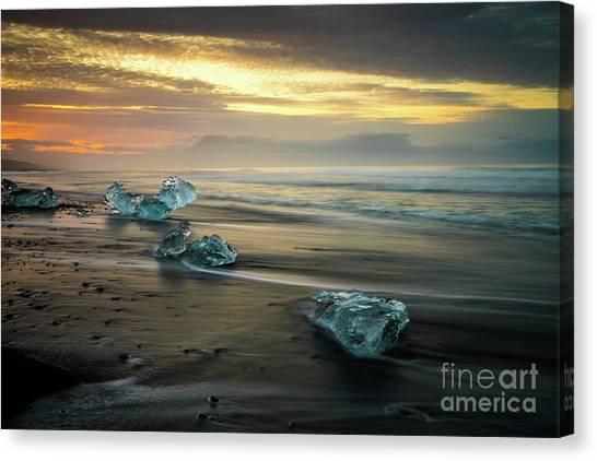 Vatnajokull Glacier Canvas Print - Beaches Of Iceland Jokulsarlon by Mike Reid