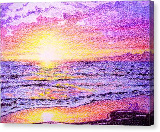 Prisma Colored Pencil Canvas Print - Beachside by Nils Bifano