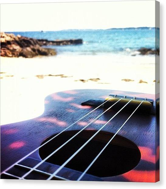 Guitars Canvas Print - Beachside Uke by Diego De Leon
