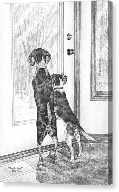 Beagle-eyed - Beagle Dog Art Print Canvas Print