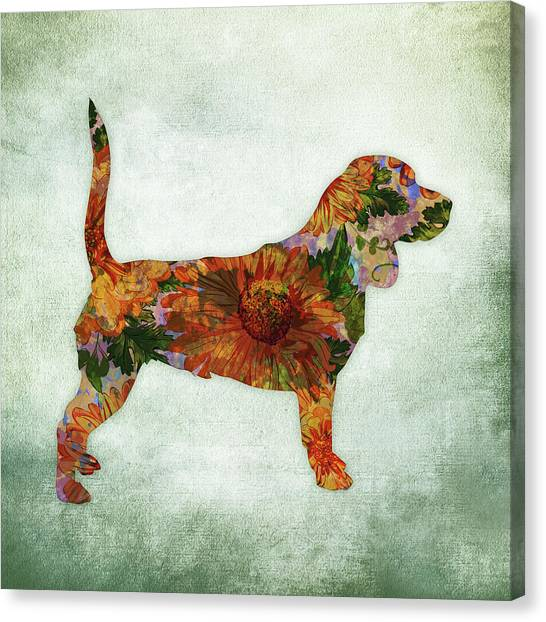 Watercolor Pet Portraits Canvas Print - Beagle Floral On Green by Flo Karp