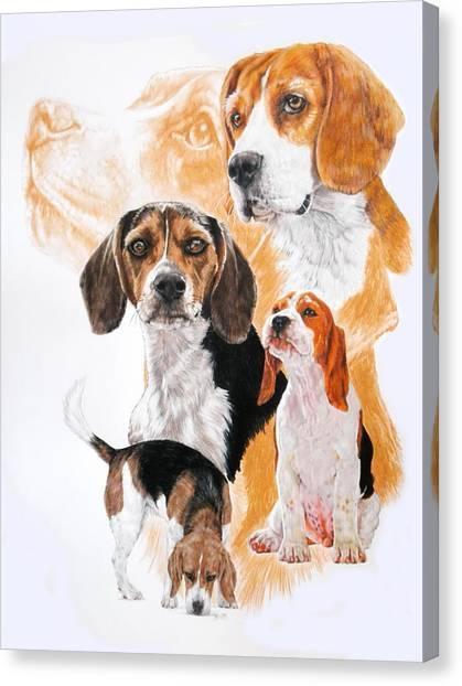 Canvas Print - Beagle Hound Medley by Barbara Keith