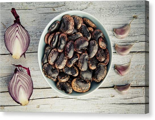 Onions Canvas Print - Beans, Garlic And Onion by Nailia Schwarz