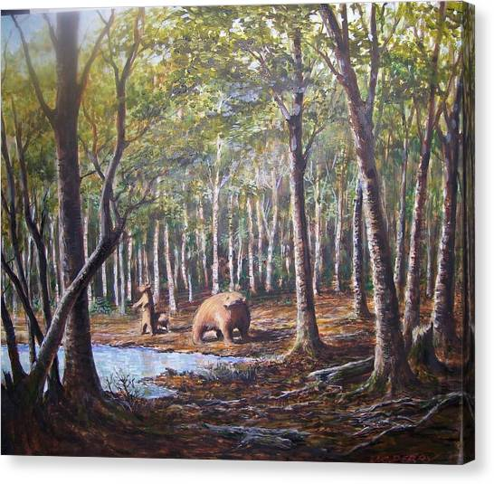 Bear And Her Cubs Canvas Print