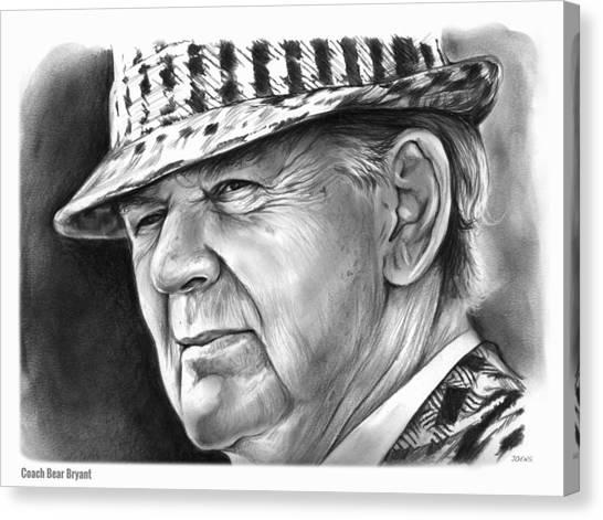 Alabama Canvas Print - Bear Bryant by Greg Joens