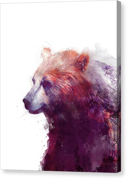 Calm Canvas Print - Bear // Calm - Right // White Background by Amy Hamilton