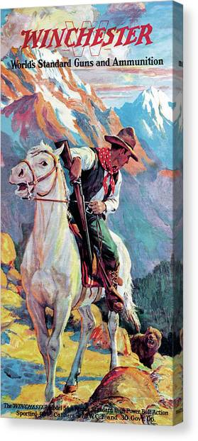 Canvas Print featuring the painting Bear Confronting Cowboy by Frank Stick