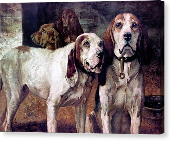 Canvas Print featuring the painting Bear Dogs - No Border by H R Poore