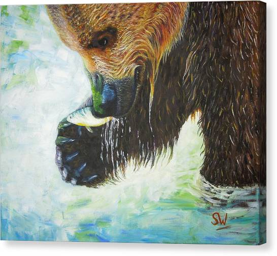 Bear Fishing Canvas Print