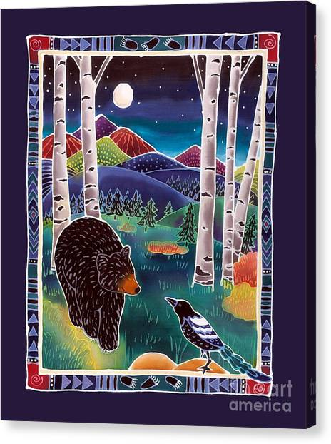 Magpies Canvas Print - Bear Greets Magpie by Harriet Peck Taylor