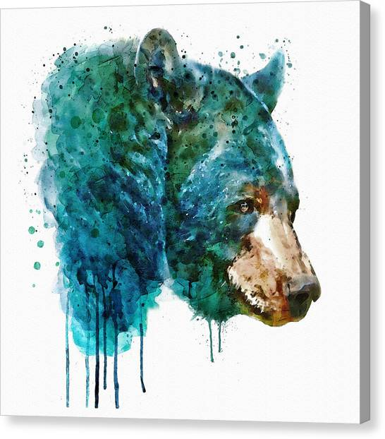 Large Mammals Canvas Print - Bear Head by Marian Voicu