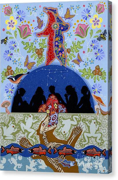 Canvas Print featuring the painting Bear Medicine by Chholing Taha