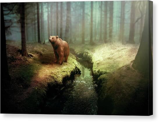 Bears Canvas Print - Bear Mountain Fantasy by David Dehner