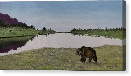 Bear Reflecting Canvas Print