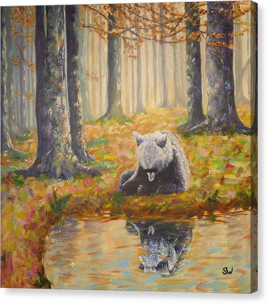 Bear Reflecting Canvas Print