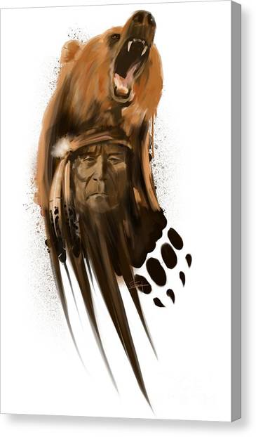 Canvas Print featuring the painting Bear Spirit  by Sassan Filsoof