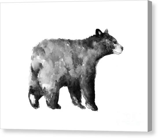Abstract Canvas Print - Bear Watercolor Drawing Poster by Joanna Szmerdt
