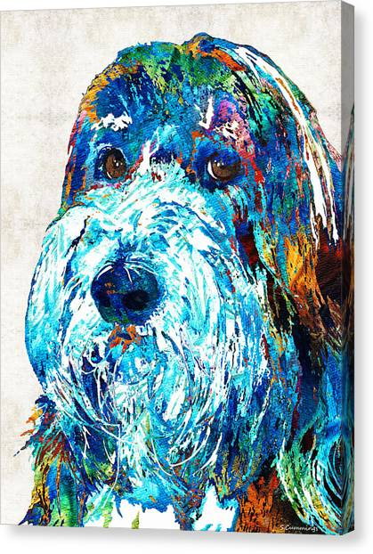 Collie Canvas Print - Bearded Collie Art 2 - Dog Portrait By Sharon Cummings by Sharon Cummings