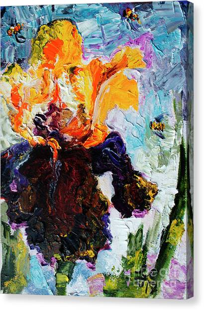 Bearded Iris And Bees Modern Impressionist Oil Painting Canvas Print