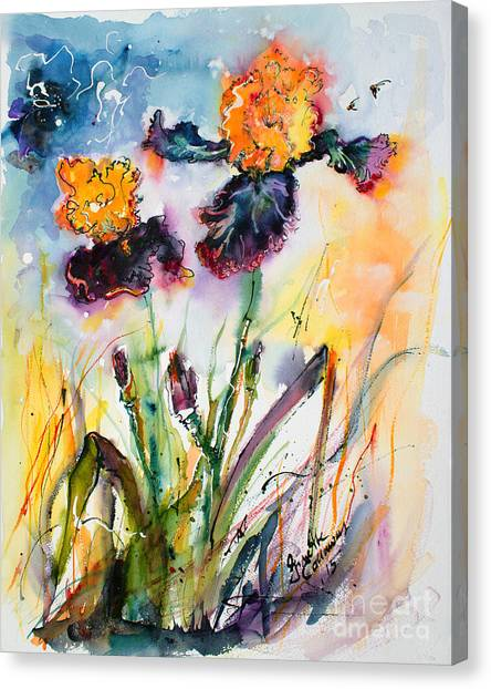 Bearded Irises Watercolor By Ginette Canvas Print
