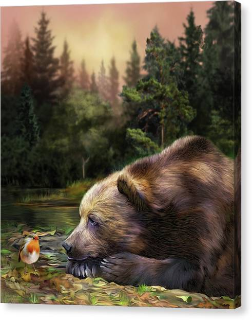 Canvas Print featuring the mixed media Bear's Eye View by Carol Cavalaris