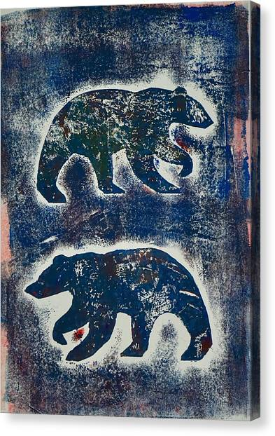 Bears In Blue  Canvas Print