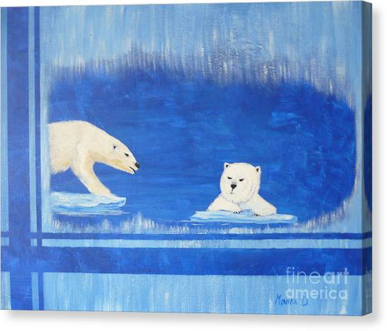 Bears In Global Warming Canvas Print
