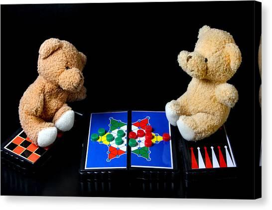 Backgammon Canvas Print - Bears Playing Halma by Elke Rampfl-Platte